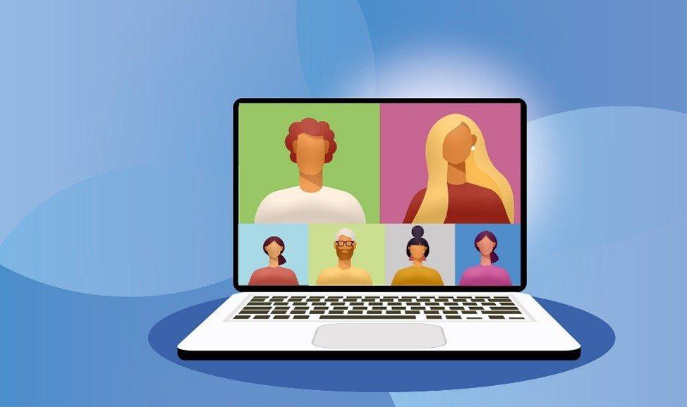 Bunter Bildschirm mit Videokonferenz
